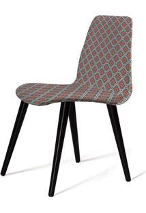 Cadeira Estofada Jacob Estampa Conch Pes Palito Preto - 49527 - Sun House