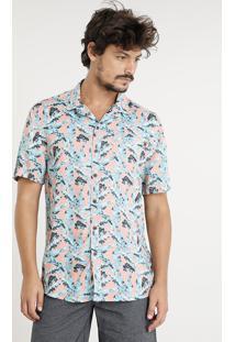 Camisa Masculina Estampada De Folhagem Com Bolso Manga Curta Coral
