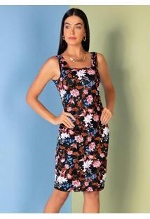 Vestido Floral Tubinho Com Decote Quadrado