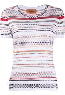 Missoni Blusa De Tricô Com Listras - Branco