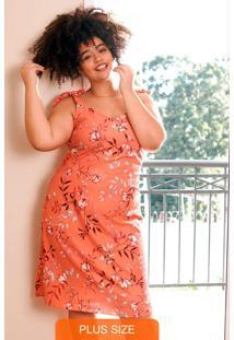 Vestido Laranja Curto Floral Com Amarração