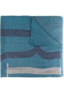 Emporio Armani Echarpe Com Estampa De Logo - Azul