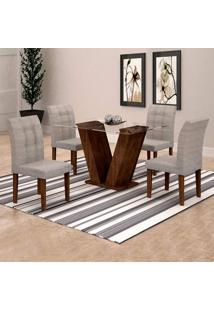 Conjunto De Mesa De Jantar Classic Com 4 Cadeiras Vitória Suede Chocolate E Cinza
