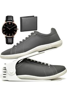Kit Sapatênis Sapato Casual Com Organizador, Carteira E Relógio King Dubuy 900Db Cinza - Kanui