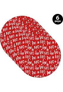 Capa Para Sousplat Mdecore Natal Ho Ho Ho! Vermelho 6Pçs
