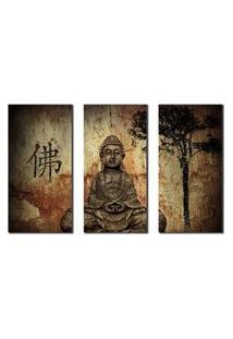 Quadro Decorativo Buda Para Sala E Quarto 3Peças M4