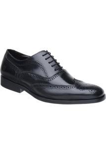 Sapato Oxford Malbork Couro Natural Solado Comfort - Masculino-Preto