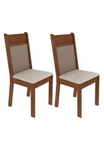 Kit 2 Cadeiras 4280 Madesa Rustic/Crema/Pérola Marrom