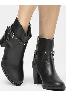 Bota Couro Shoestock Curta Vira Cravinhos Metais Niquel Feminina - Feminino-Preto