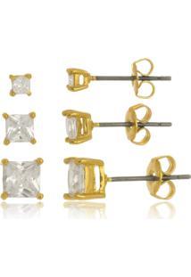 Trio De Brincos Quadrado Cristal Di Capri Semi Jóias X Ouro Dourado