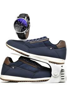 Kit Sapatênis Sapato Casual Com Organizador E Relógio Dubuy 1100Db Azul - Kanui