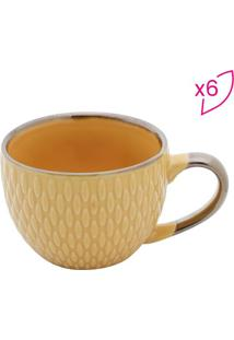 Jogo De Xícaras Para Café Em Porcelana- Amarelo- 6Pçrojemac