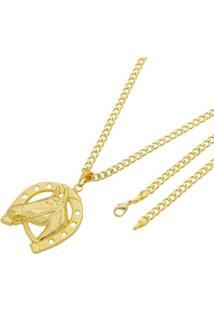 Pingente Cavalo Com Corrente Grumet 5Mm Folheada A Ouro - Unissex-Dourado