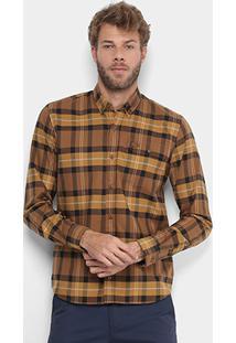 Camisa Xadrez Lacoste Manga Longa Lapela Croco Masculina - Masculino-Cáqui