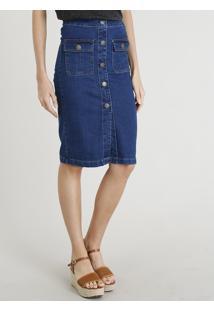 3df22f2495 Saia E Mini Saia Jeans Lapis feminina