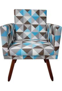 Poltrona Decorativa Nina Suede Triângulo Azul - Ds Móveis - Kanui