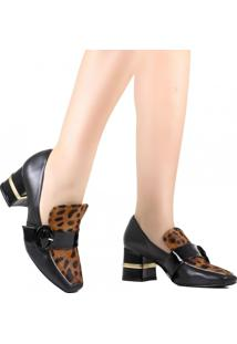 Sapato Scarpin Zariff Bico Quadrado Preto