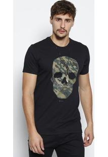 Camiseta Caveira Com Termocolantes - Preta & Verde Musgojavali
