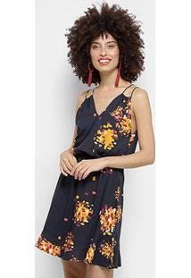 Vestido Morena Rosa Evasê Curto Básico - Feminino-Preto+Amarelo