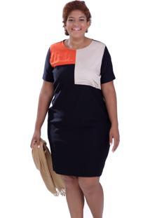 Vestido Vickttoria Vick Color Block Plus Size