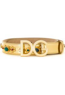 Dolce & Gabbana Cinto De Couro Com Bordado - Amarelo