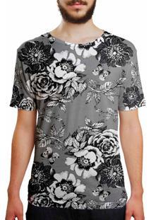 Camiseta Estampada Over Fame Flor Da Ameixeira Cinza