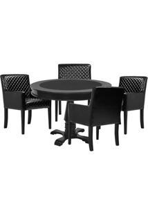 Mesa De Jogos Carteado Redonda Victoria Tampo Reversível Preto Com 4 Cadeiras Liverpool Corino Preto Matelassê - Gran Belo