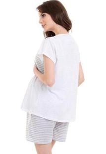 Pijama Bermudoll Gestante Luna Cuore 07 Feminino - Feminino-Branco