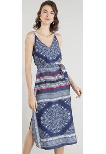 c000cf9fd R$ 119,99. CEA Vestido Azul Marinho Viscose Fenda Midi Acinturado Alças  Solto Alça Fina Estampado Arabescos Feminino