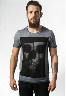Camiseta Estonada Skull Lab Skull Mirror - Masculino-Cinza