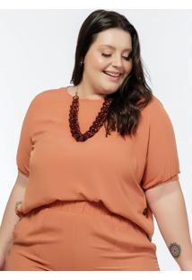 Blusa Plus Size Ferrugem Com Botões Na Laterais