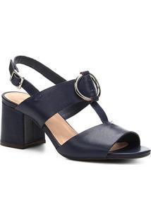 Sandália Couro Shoestock Salto Bloco Argola - Feminino-Marinho