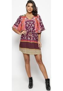 Vestido Floral Com Arabescos- Vinho & Laranjawool Line