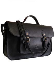 Bolsa Line Store Leather Satchel Média Couro Preto.