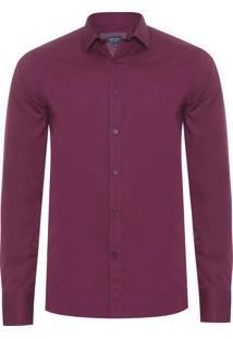 Camisa Masculina Casual Slim Fit - Vinho