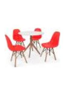 Conjunto Mesa De Jantar Maitê 80Cm Branca Com 4 Cadeiras Charles Eames Botonê - Vermelha