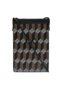 Au Départ Chevron Pattern Shoulder Bag - Preto