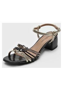 Sandália Dafiti Shoes Nó Preto/Dourado