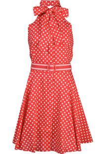 Zimmermann Vestido Mini Com Poás E Laço - Vermelho