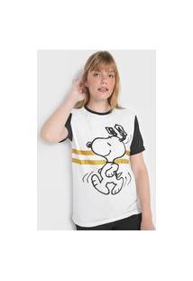 Camiseta Snoopy By Fiveblu Estampada Branca/Preta