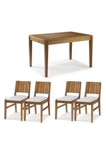Conjunto Mesa Jantar Tampo Madeira + 4 Cadeiras Salvador Assento Estofado - 60474 Preto