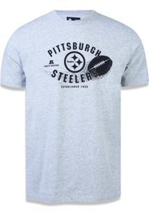 Camiseta New Era Regular Pittsburgh Steelers Mescla Cinza