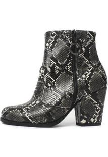 Bota Cano Curto Damannu Shoes Florence Feminina - Feminino-Preto+Branco
