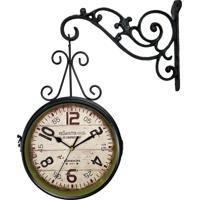 551514fbd5c Relógio De Parede R3P Import Face Dupla Retrô Vintage Estilo Estação De Trem  De London 1894