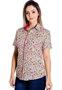 Camisa Pimenta Rosada Yasmine Floral - Feminino-Branco+Lilás
