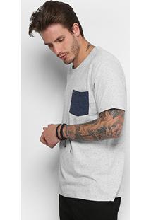 Camiseta Redley Botonê Bolso Masculina - Masculino-Branco
