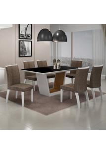 Mesa De Jantar Alemanha C/6 Cadeiras Linho Marrom Ii Branco/Imbuia Mel/Branco - Leifer Móveis