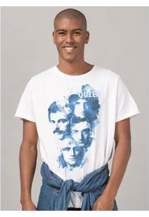 Camiseta Masculina Queen Blue Faces - Masculino-Branco
