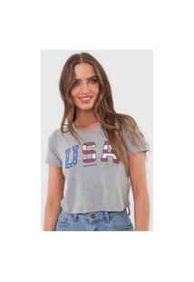 Camiseta Cropped Aeropostale Usa Cinza