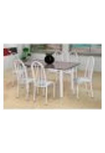 Conjunto De Mesa Carla Com 6 Cadeiras Branca Linho